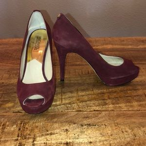 Michael Kors Burgundy Peep Toe Pump
